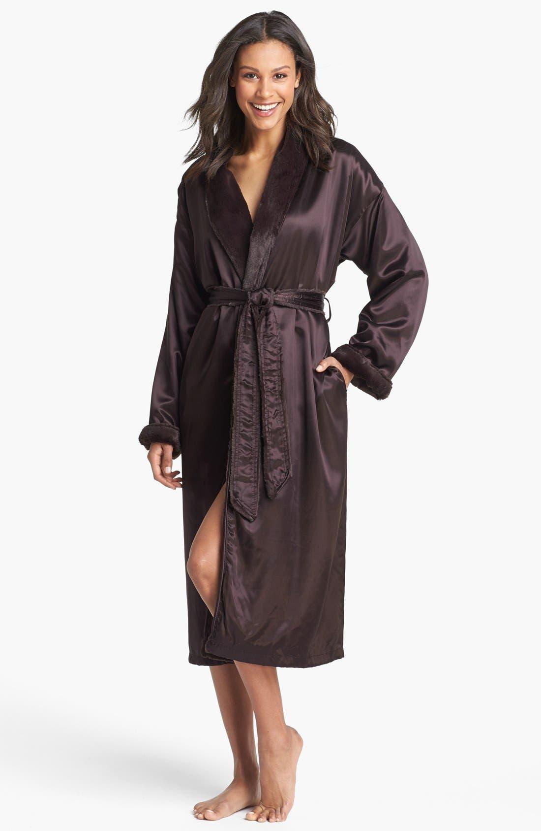 Satin robe in store