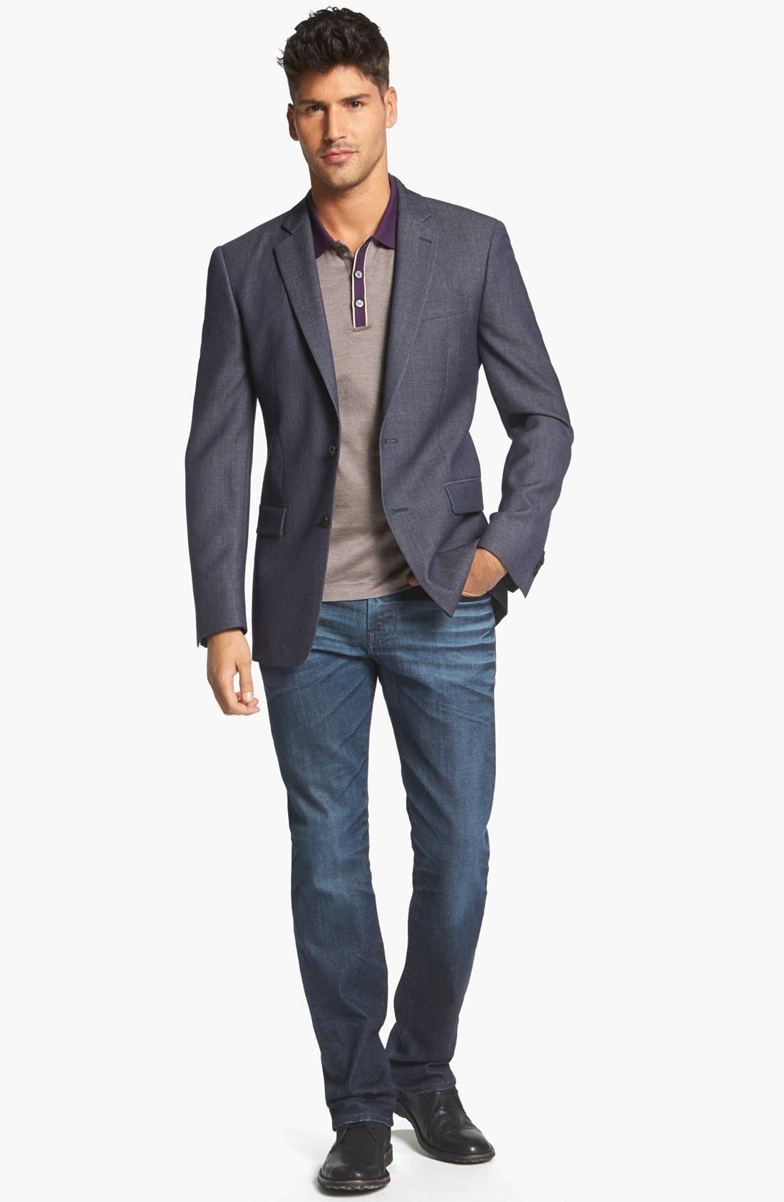 Alternate Image 4  - John Varvatos Star USA Herringbone Trim Fit Wool Sportcoat