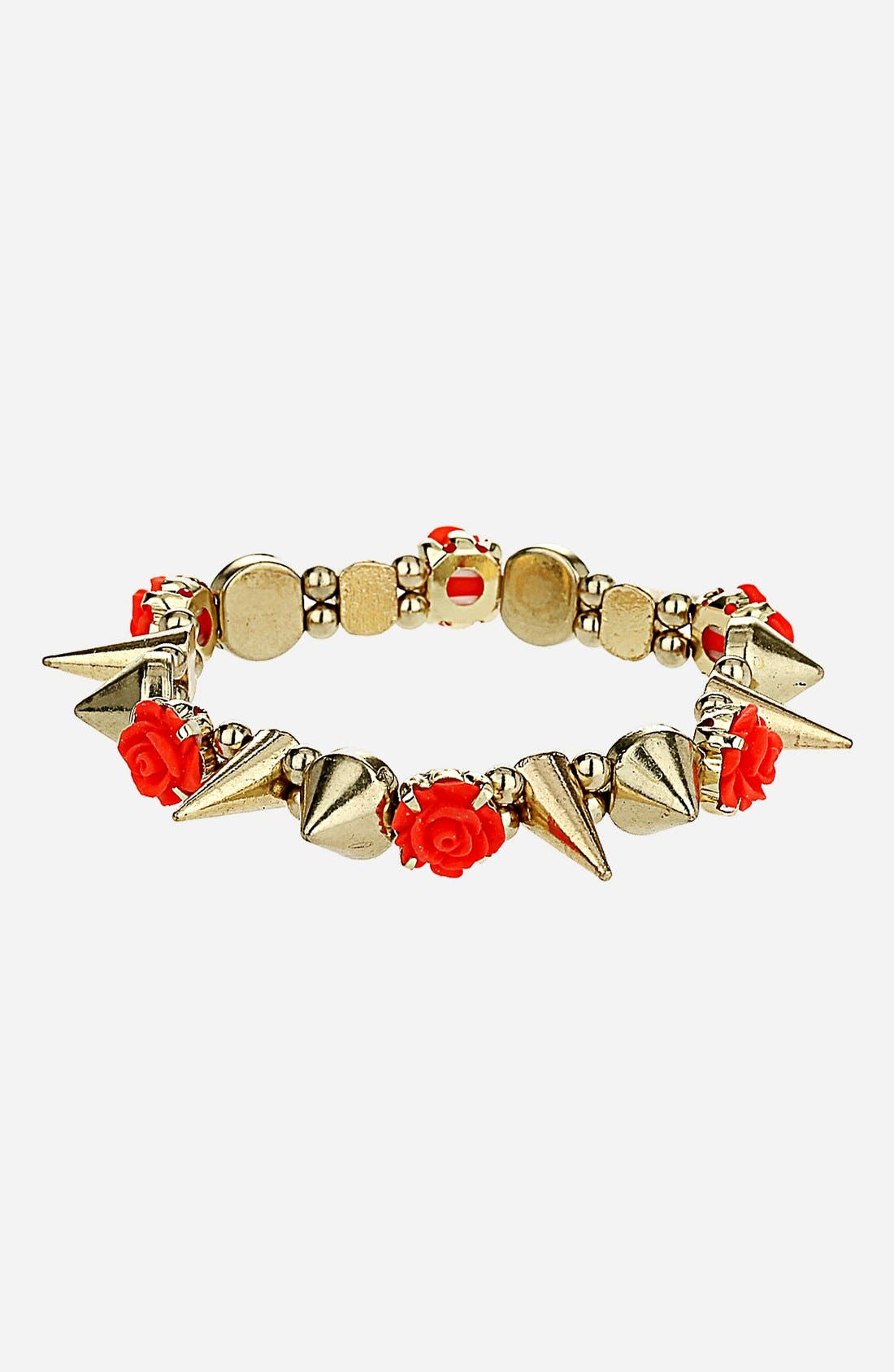 Alternate Image 1 Selected - Topshop Flower & Stud Stretch Bracelet