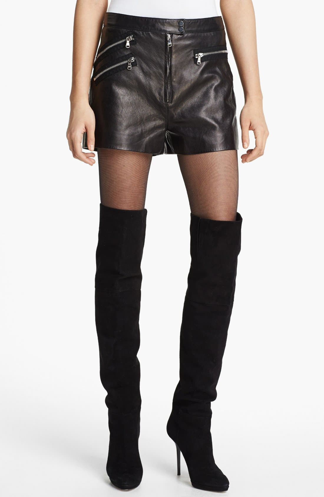 Multi Zip Leather Shorts,                         Main,                         color, Charcoal