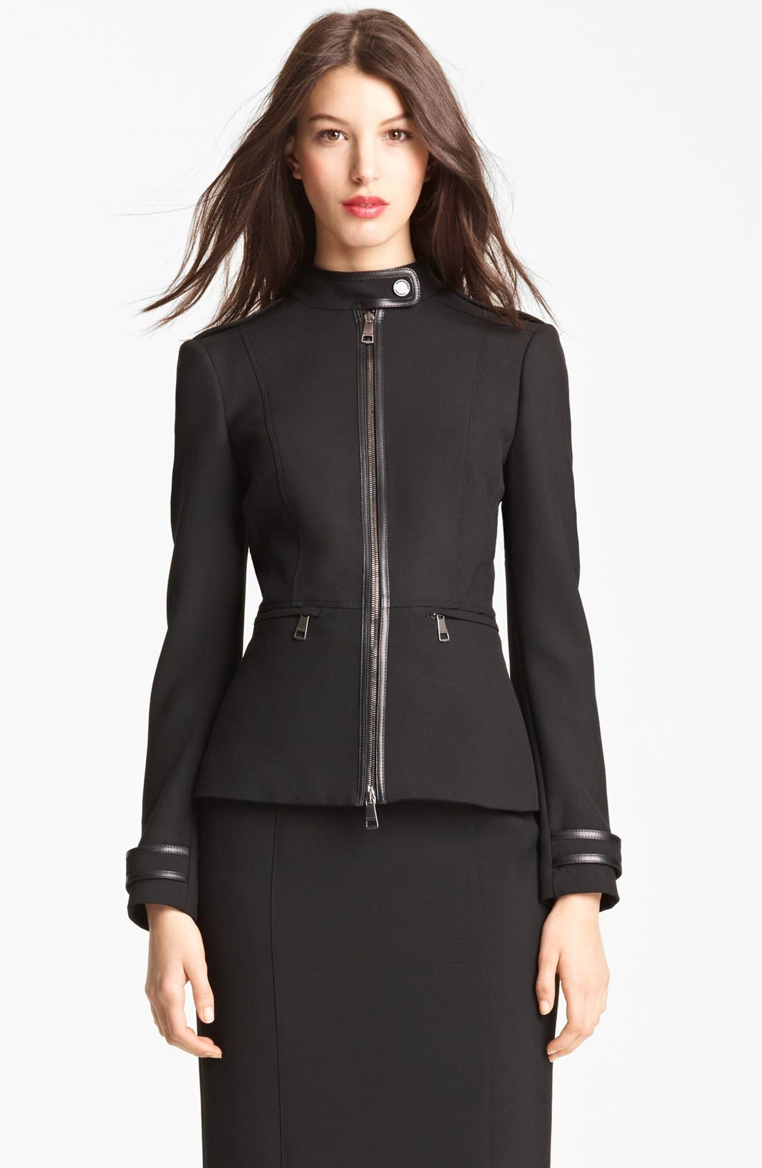 Main Image - Burberry London Leather Trim Stretch Jersey Jacket