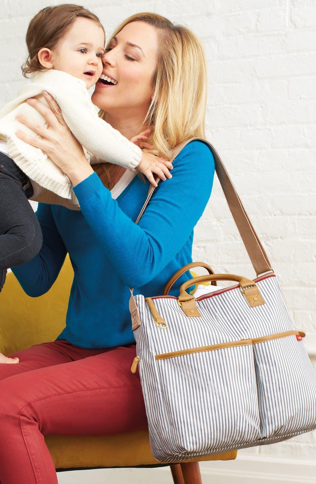 'Duo' Diaper Bag,                             Alternate thumbnail 4, color,                             Grey