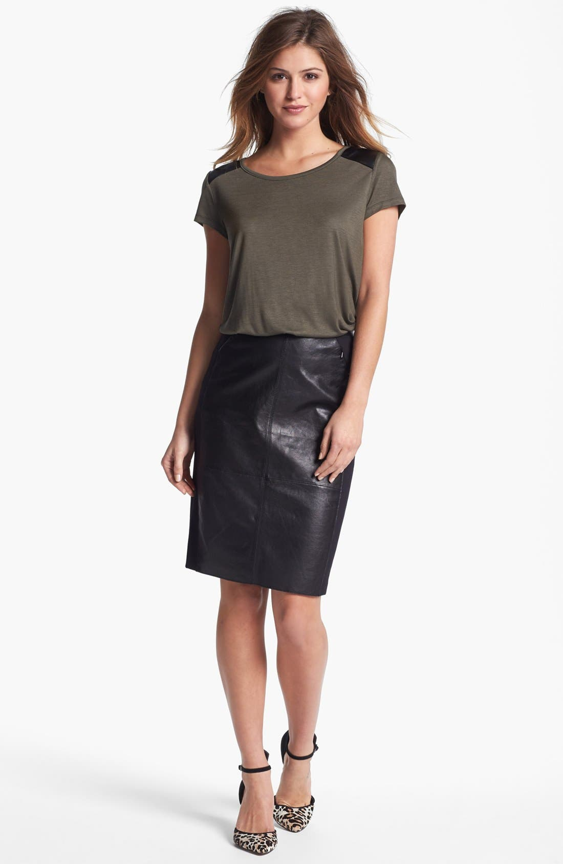 Alternate Image 1 Selected - Halogen® Faux Leather Yoke Tee