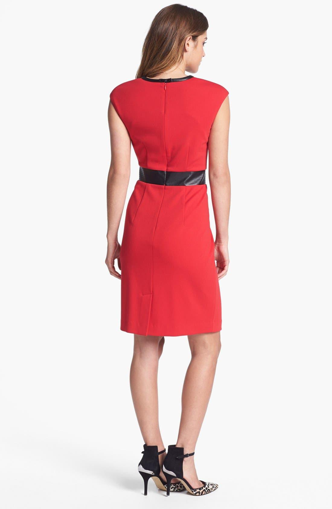 Alternate Image 3  - Calvin Klein Faux Leather Trim Ponte Sheath Dress