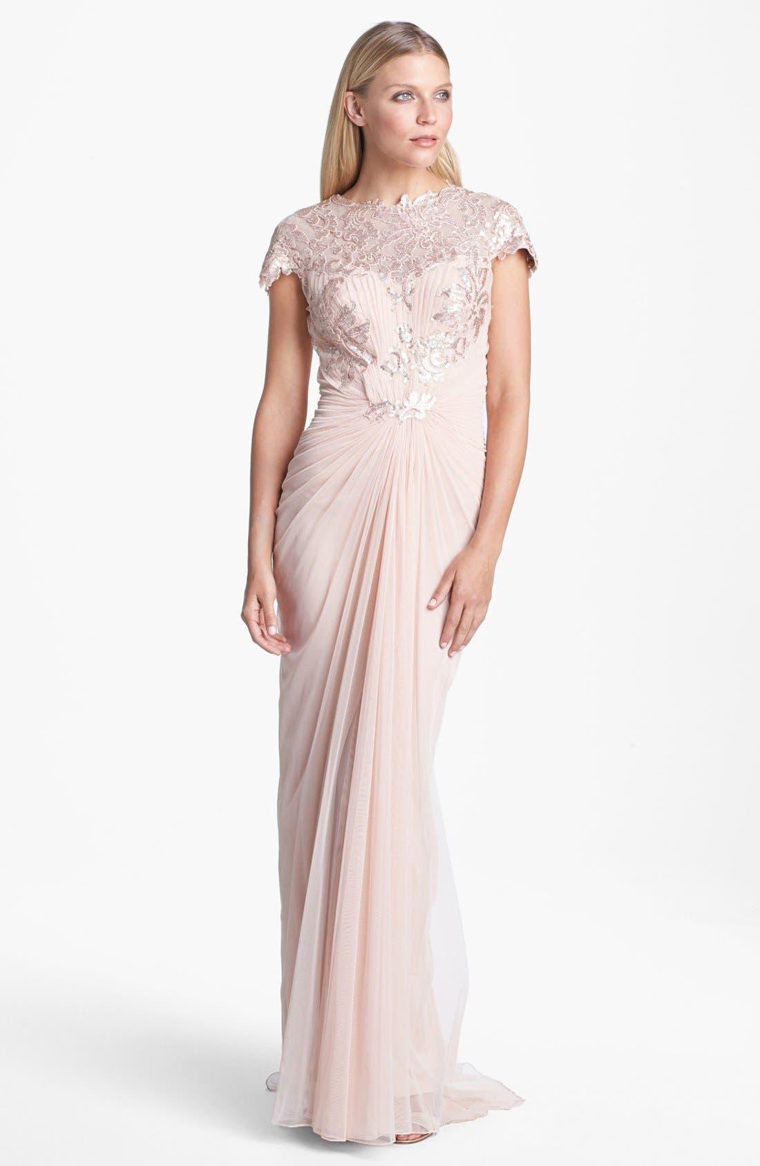 Alternate Image 1 Selected - Tadashi Shoji Embellished Draped Gown