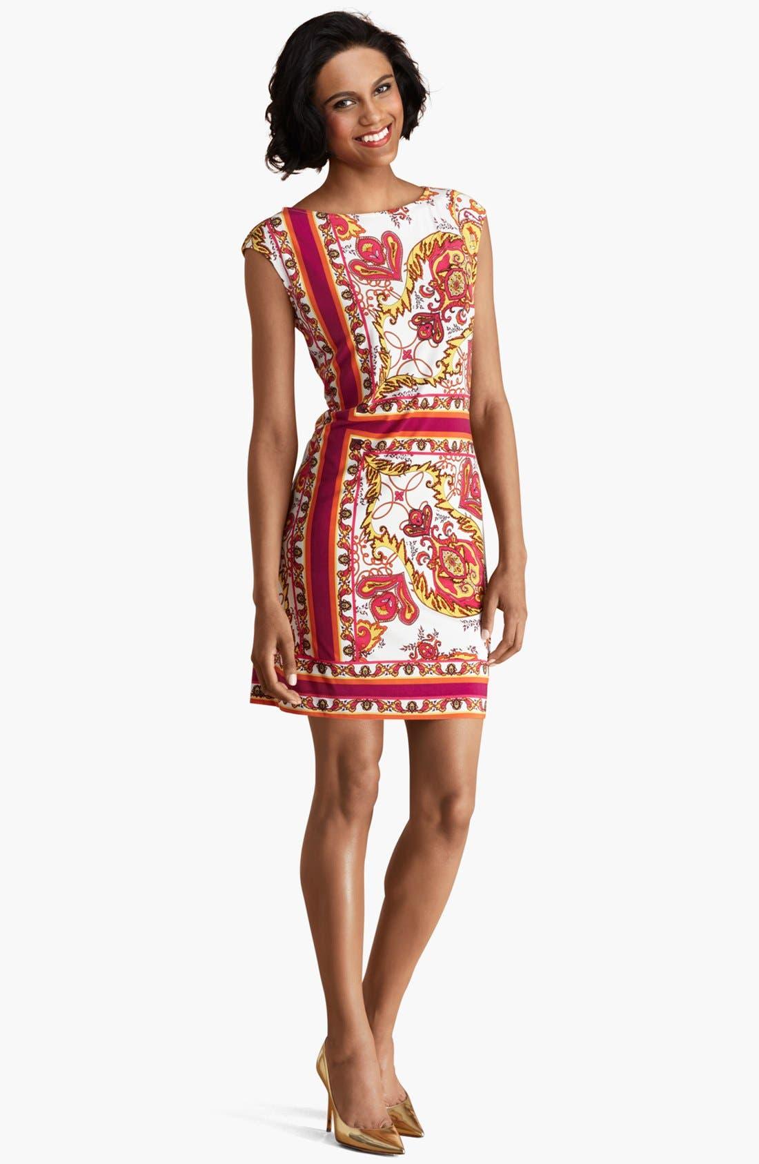Main Image - Donna Morgan Scarf Print Matte Jersey Dress