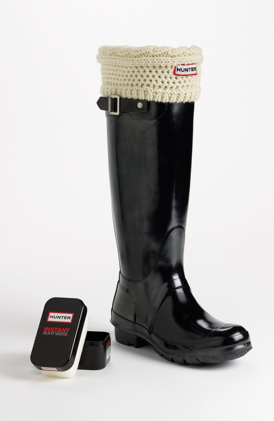 Main Image - Hunter 'Original Tall' Gloss Rain Boot, Cable Cuff Welly Socks & Instant Boot Shine Sponge