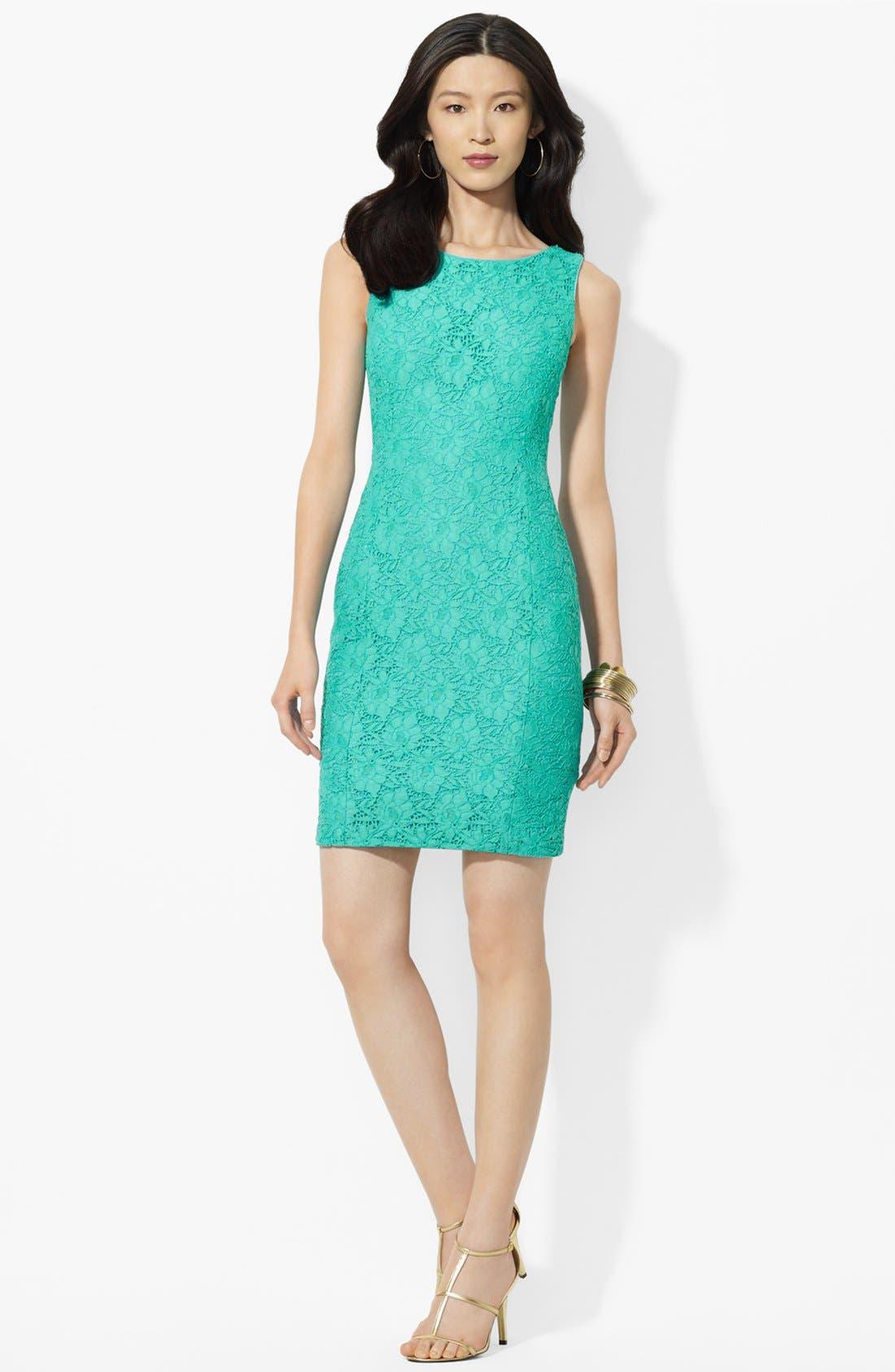Main Image - Lauren Ralph Lauren Lace Sheath Dress