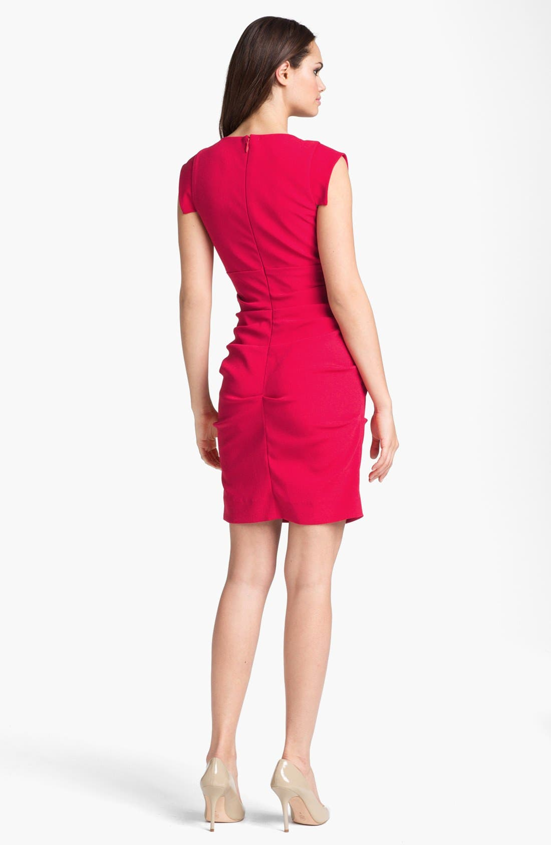 Alternate Image 2  - Nicole Miller Satin Crepe Sheath Dress