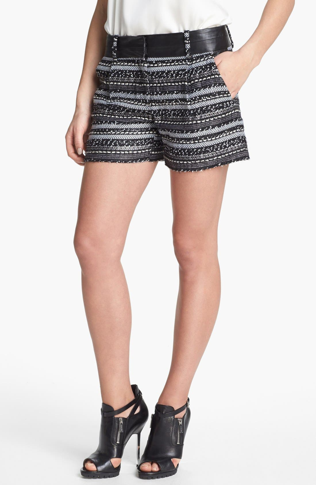 Alternate Image 1 Selected - Milly 'Malhia Couture' Tweed & Leather Shorts