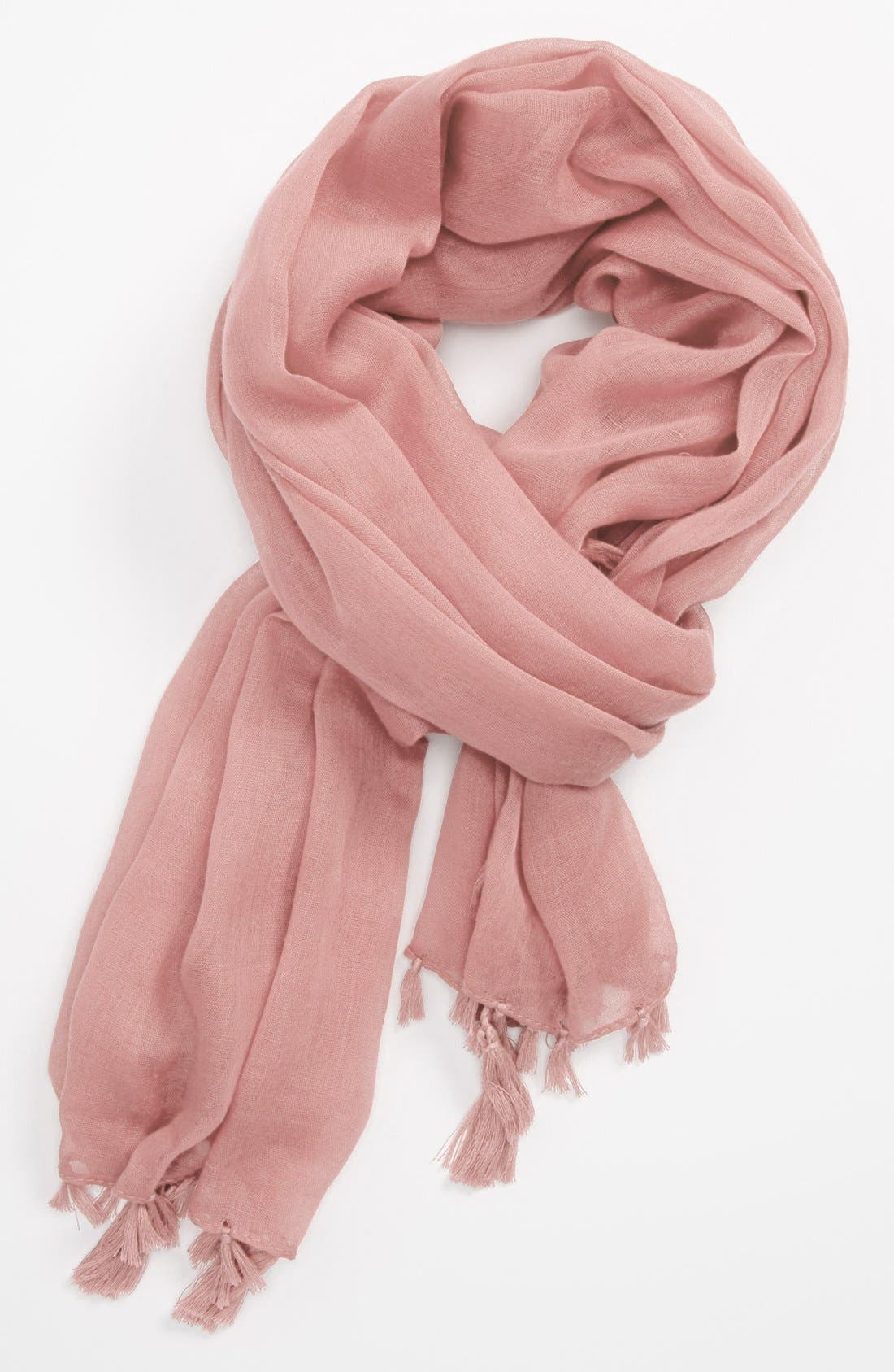 Sheer Fringed Scarf,                         Main,                         color, Light Pink