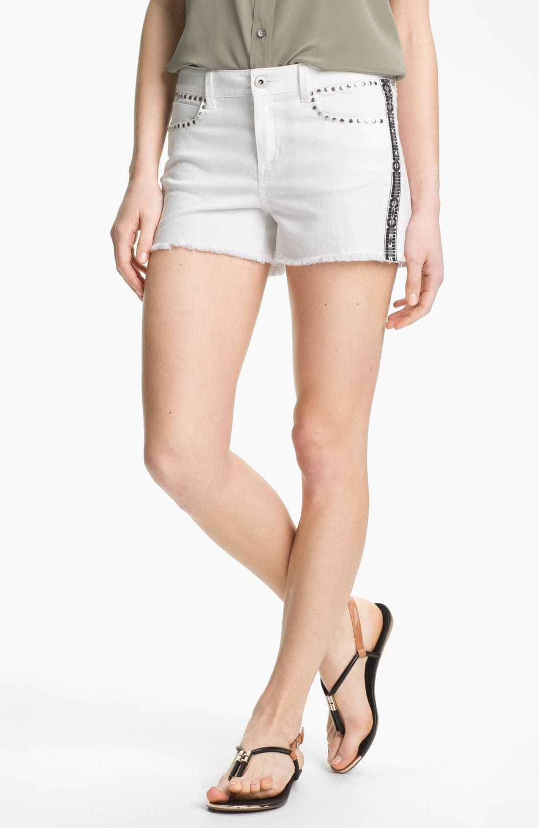 Embroidered Studded Cutoff Denim Shorts,                         Main,                         color, Ultra White