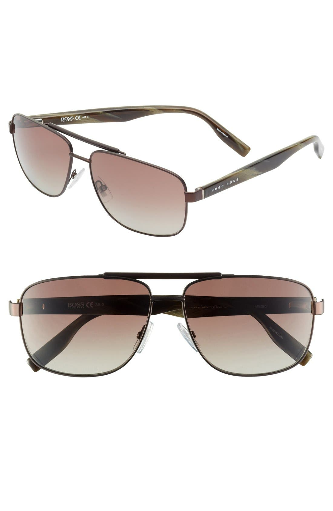Alternate Image 1 Selected - BOSS HUGO BOSS 59mm Polarized Aviator Sunglasses