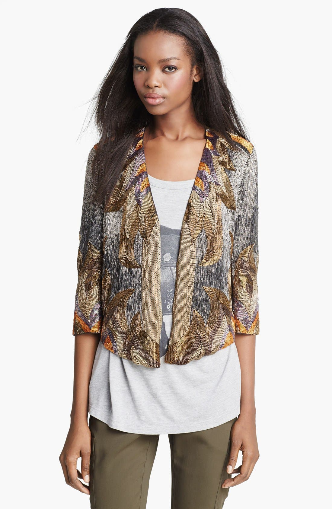 Alternate Image 3  - Haute Hippie 'Fire' Bead Embellished Silk Jacket
