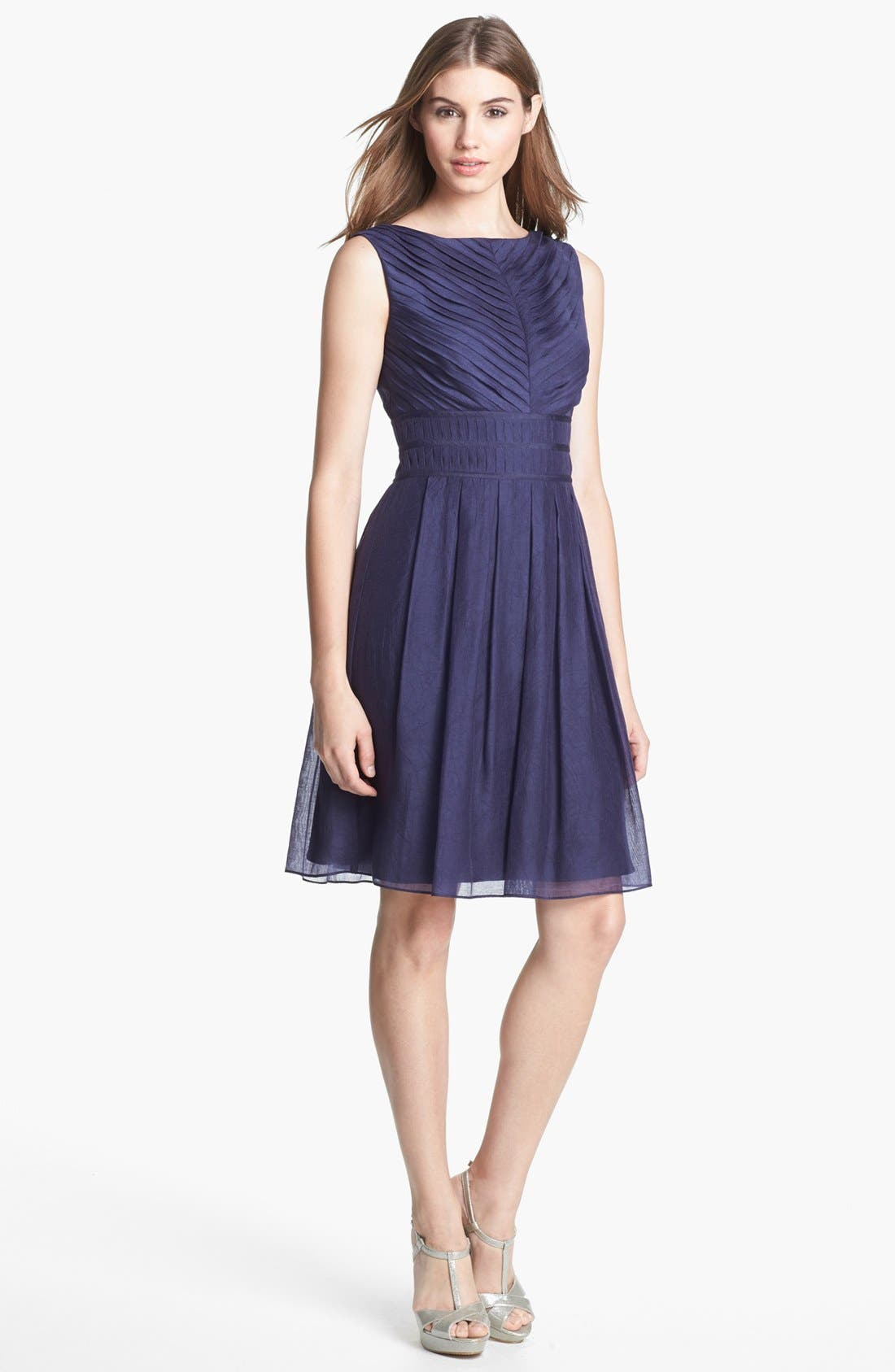Alternate Image 1 Selected - Ivy & Blu Pleat Fit & Flare Dress (Online Only)