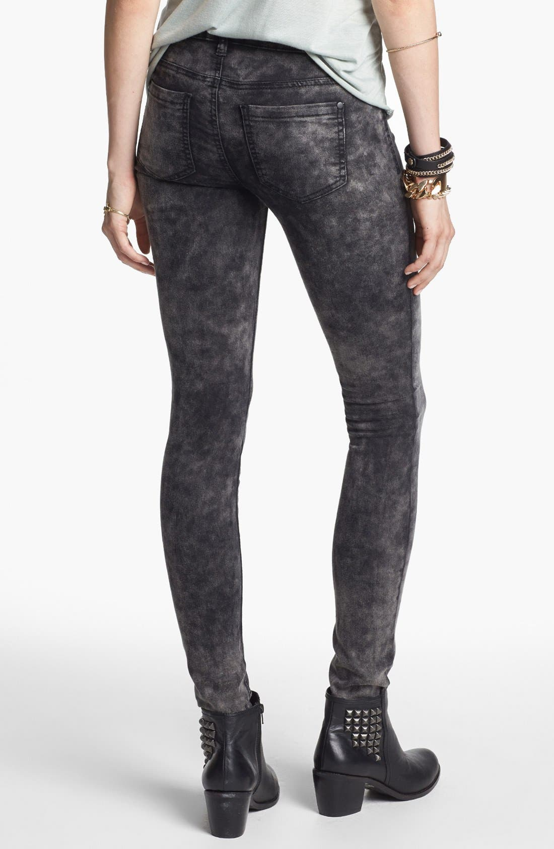 Alternate Image 2  - Fire Marble Wash Skinny Jeans (Dark Grey) (Juniors)