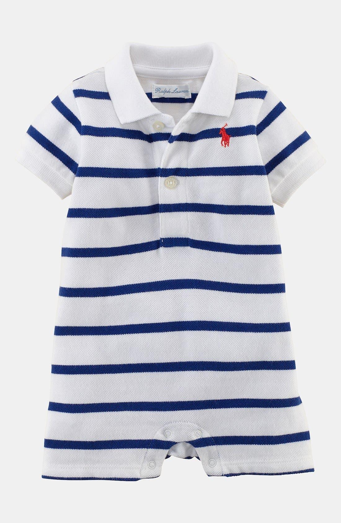 Alternate Image 1 Selected - Ralph Lauren Stripe Romper (Baby Boys)