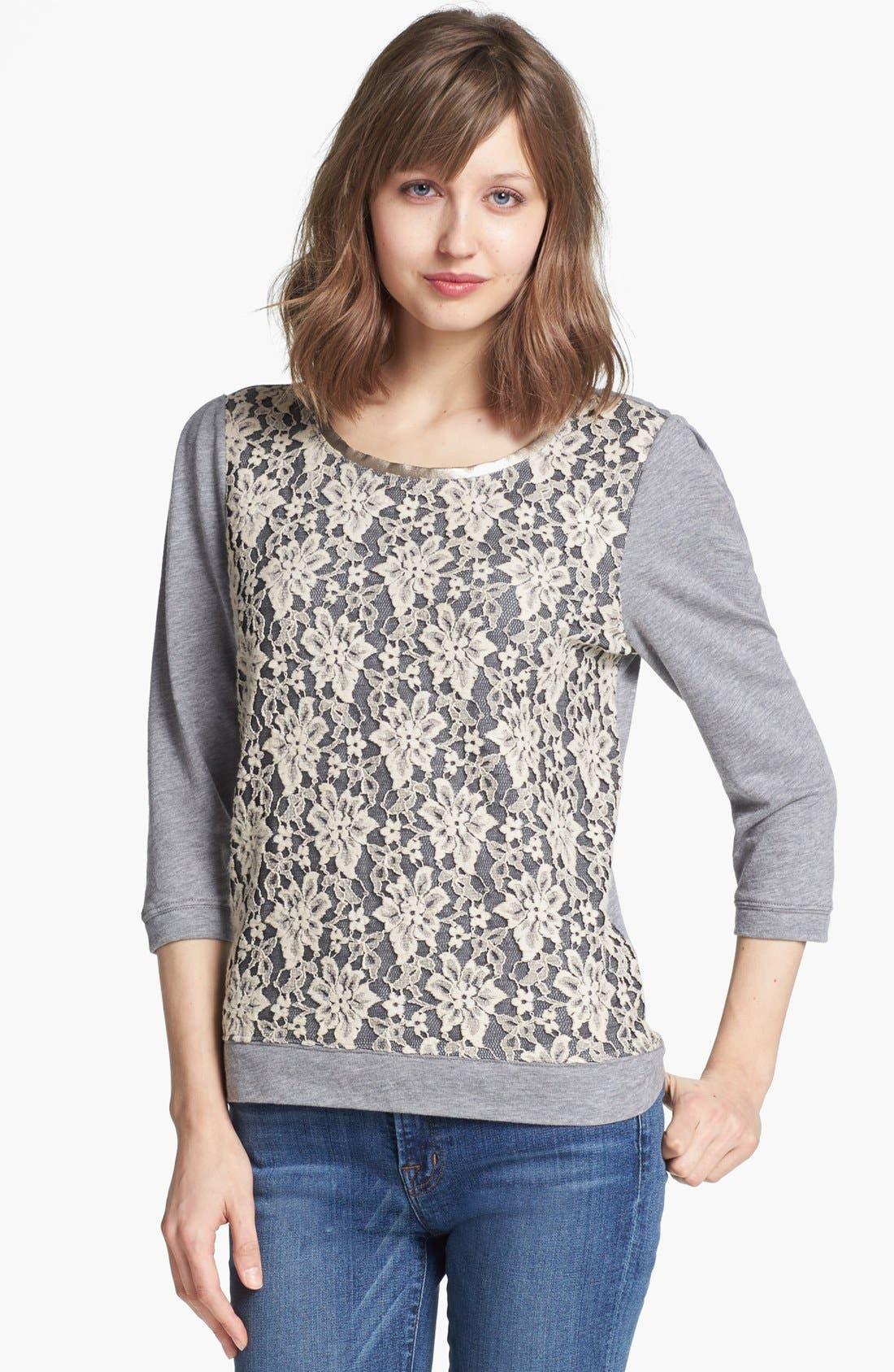 Main Image - Hinge® Lace Overlay Sweatshirt