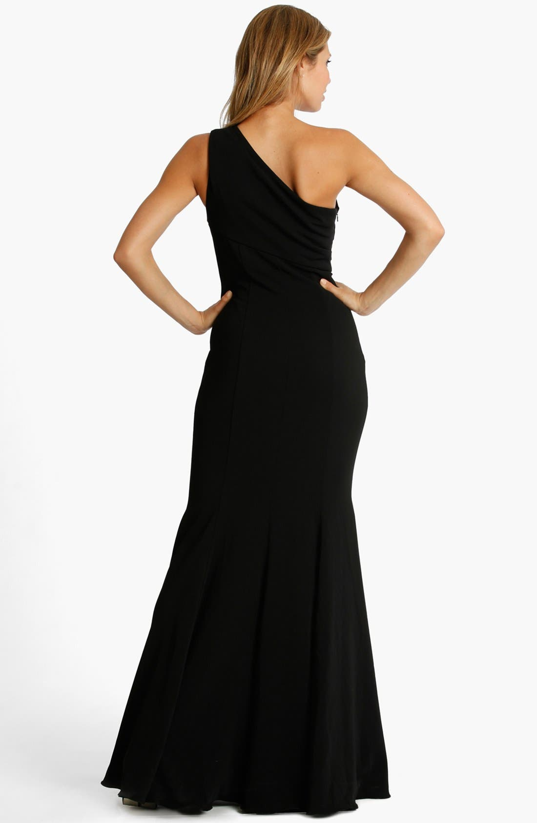 Alternate Image 2  - JS Collections One Shoulder Jersey Gown