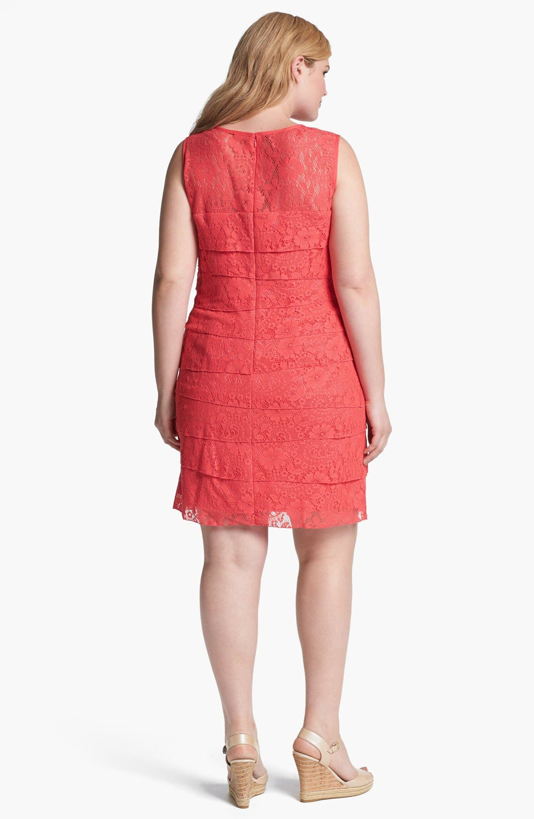 Alternate Image 2  - Eliza J Lace Shutter Pleat Dress (Plus Size)