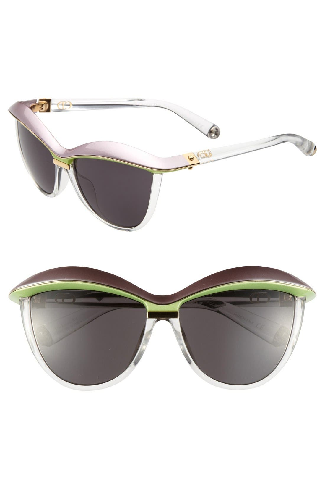 'Demoiselle 2' 58mm Retro Sunglasses,                         Main,                         color, Mauve