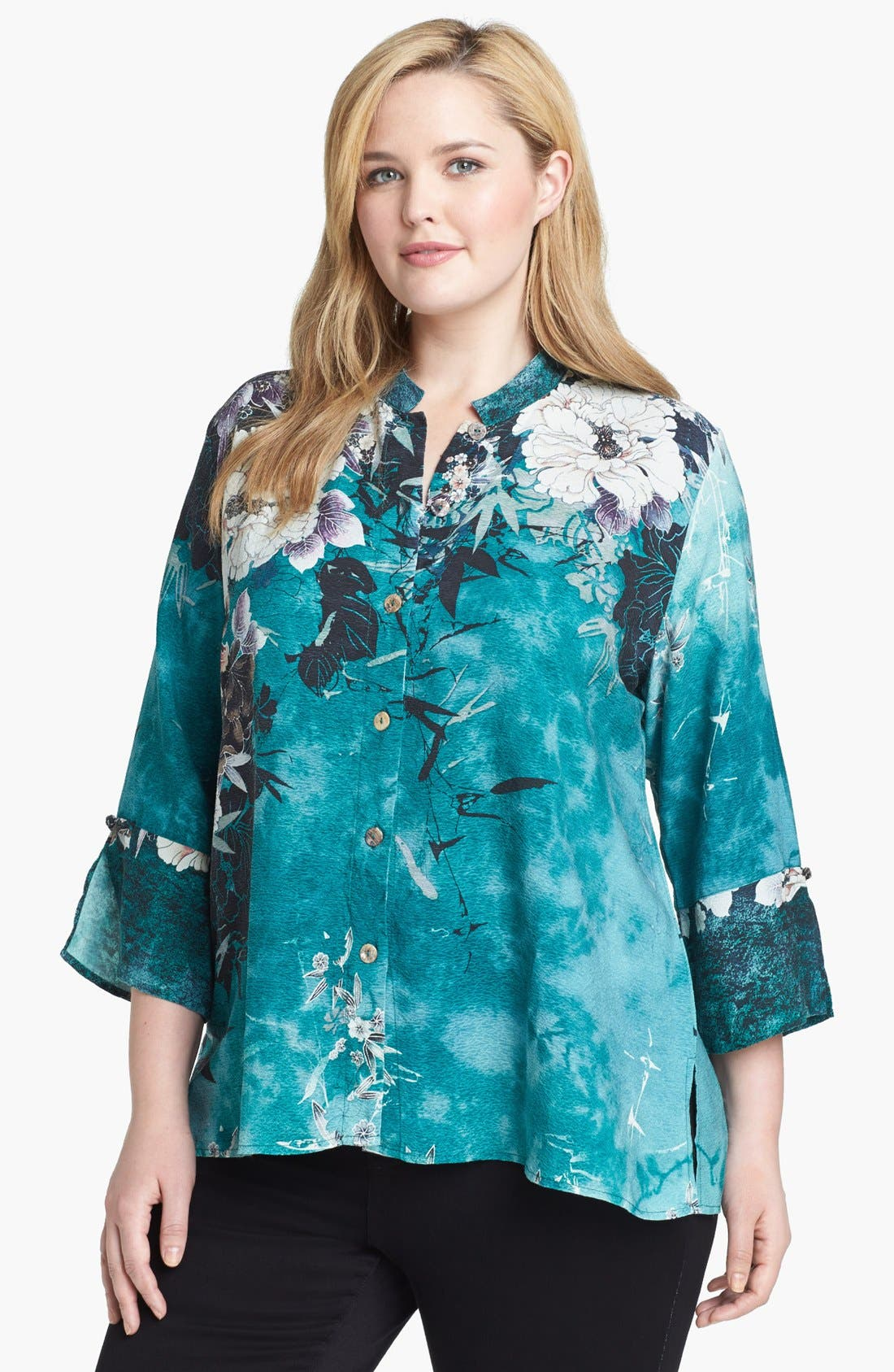 Alternate Image 1 Selected - Citron Print Silk Tunic (Plus Size)