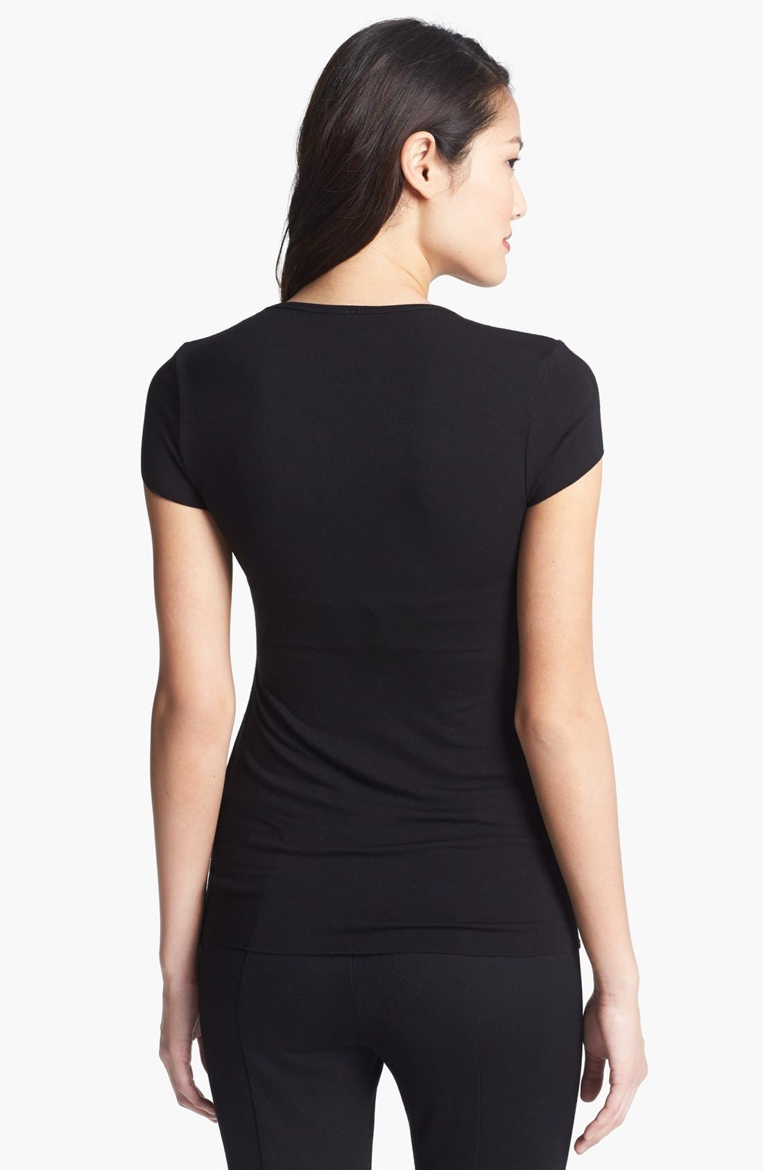 Alternate Image 2  - Vince Camuto Faux Leather Front Tee