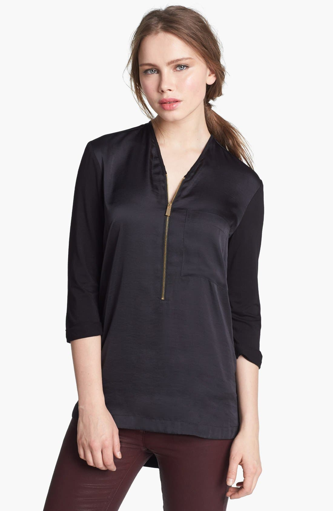 Alternate Image 1 Selected - Vince Camuto Zip Placket Mixed Media Top (Online Only)