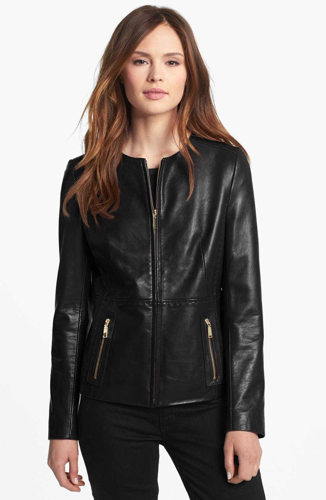 Main Image - Tahari Collarless Leather Jacket (Regular & Petite)