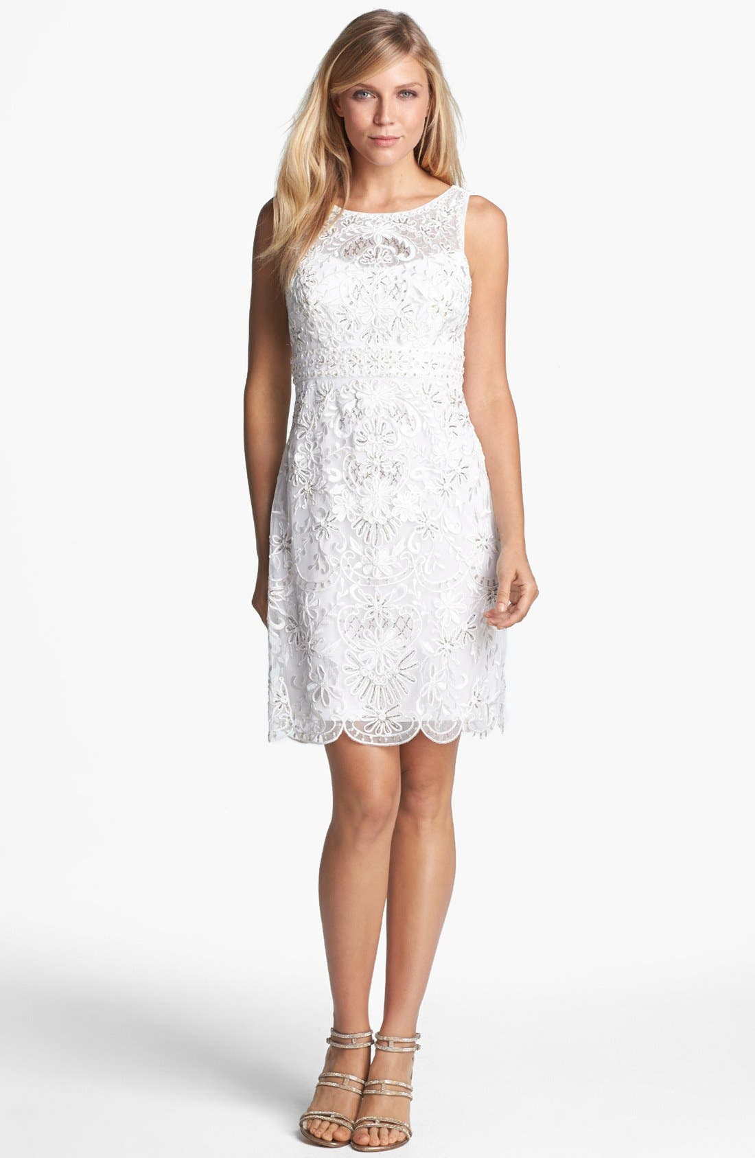 Alternate Image 1 Selected - Sue Wong Open Back Embroidered Lace Dress