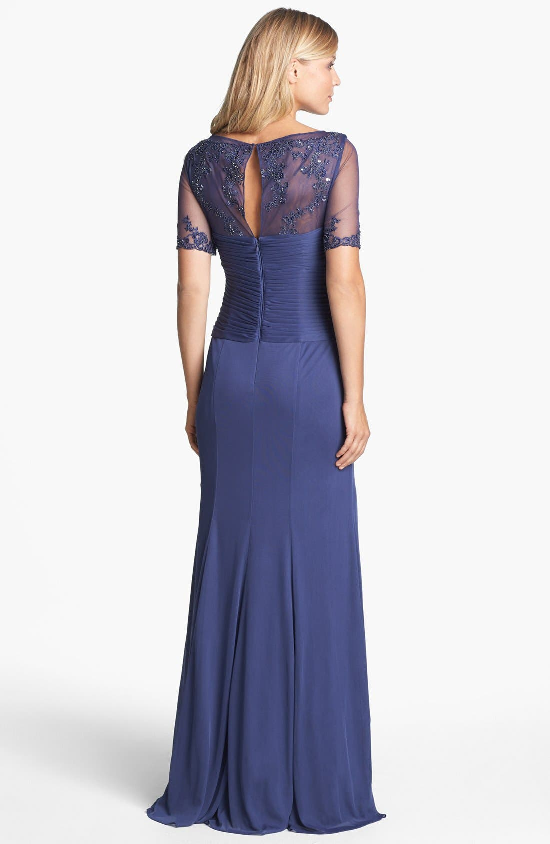 Alternate Image 2  - Adrianna Papell Embellished Ruched Bodice Mesh Gown