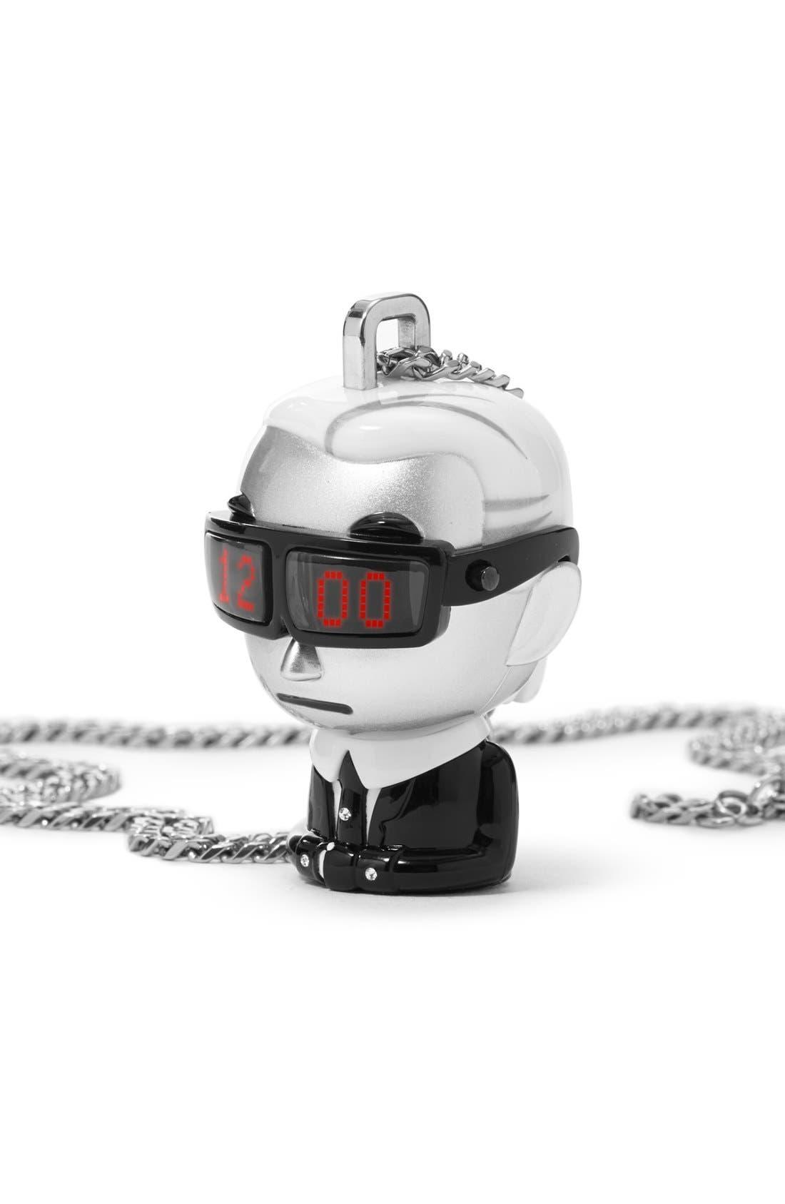 'tokidoki' Digital Necklace Watch, 37mm x 51mm,                             Alternate thumbnail 3, color,                             Silver/ Black/ White