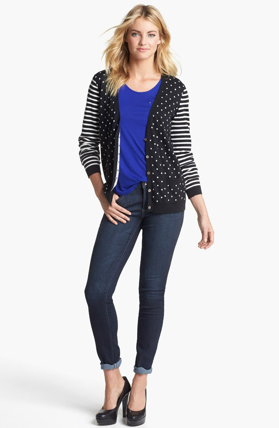 Main Image - Two by Vince Camuto Dot & Stripe Cardigan