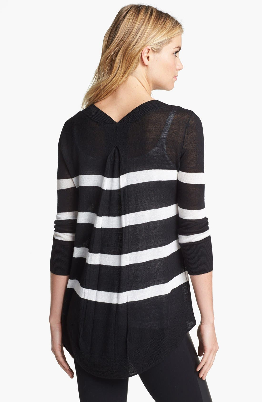 Alternate Image 2  - Two by Vince Camuto Stripe Back Pleat Sweater