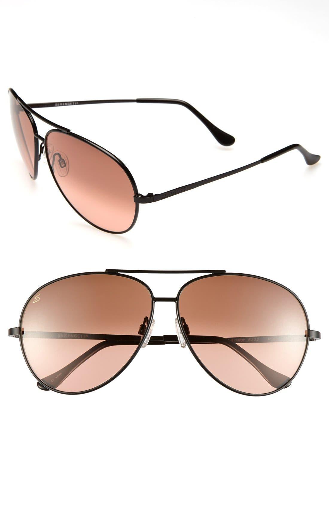 Main Image - Serengeti Polarized 68mm Large Aviator Sunglasses
