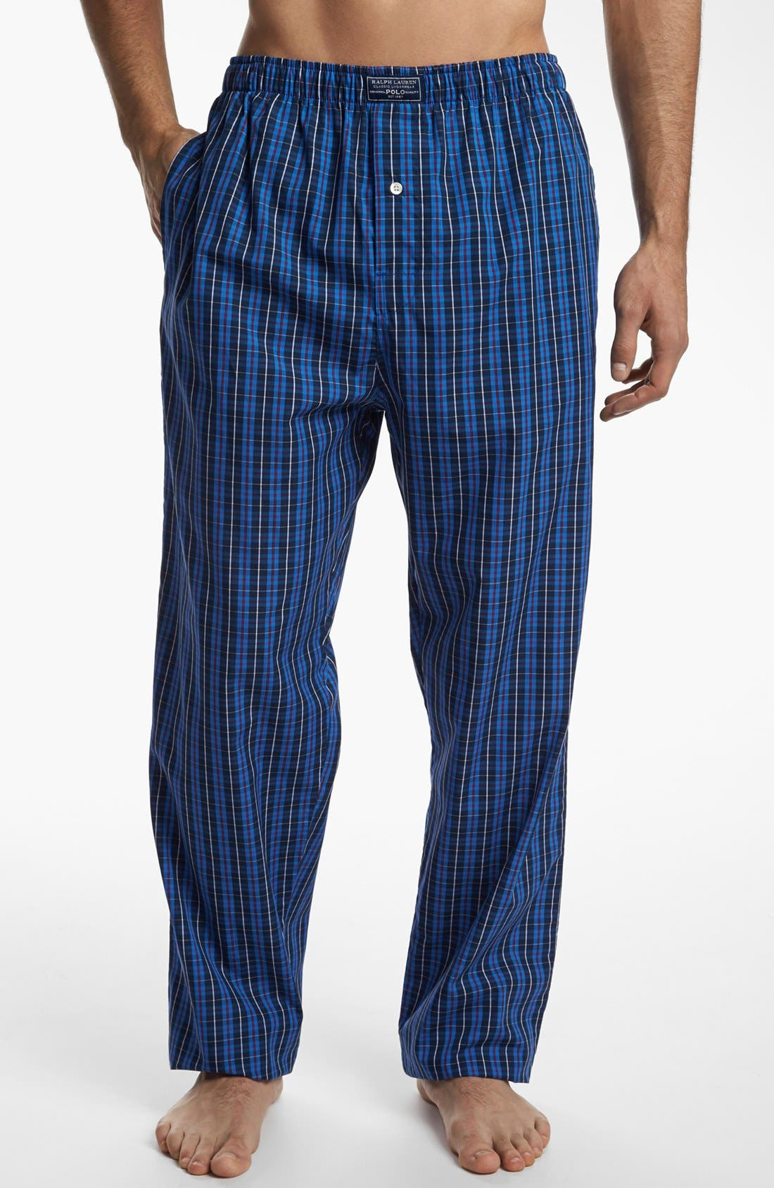 Woven Pajama Pants,                         Main,                         color, Harwich Plaid