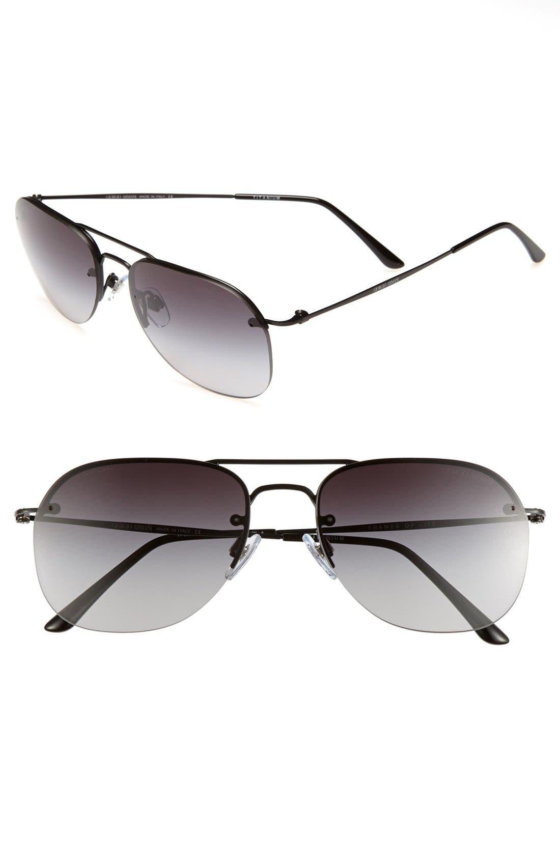 Main Image - Giorgio Armani 55mm Aviator Sunglasses