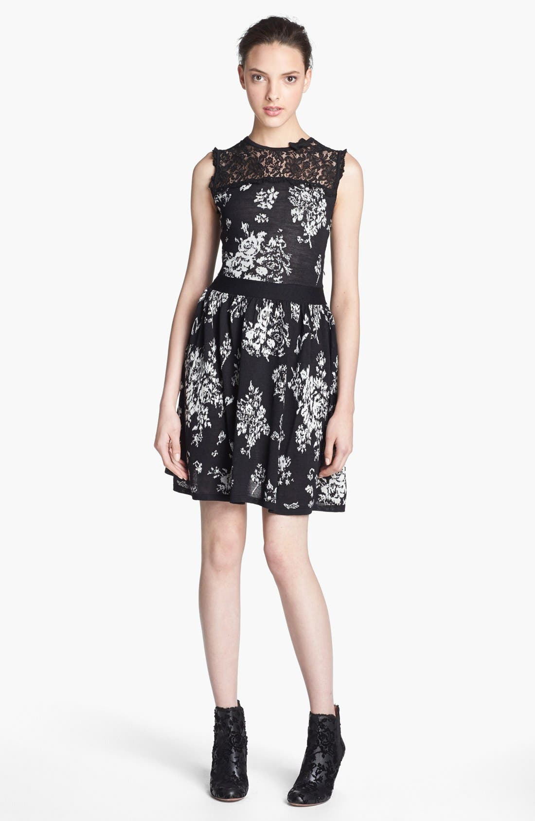 Alternate Image 1 Selected - RED Valentino Lace & Floral Jacquard Dress