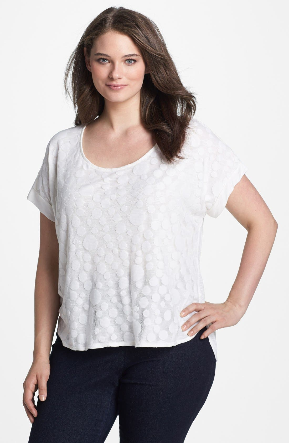 Alternate Image 1 Selected - Olivia Moon Dot Overlay Tee (Plus Size)