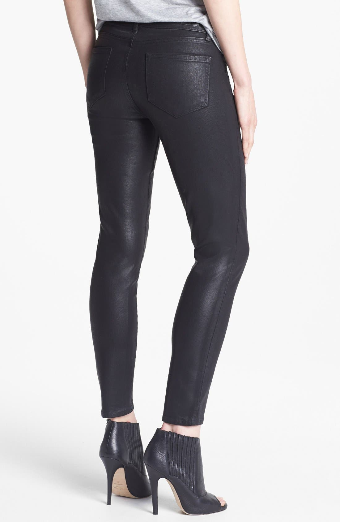 Alternate Image 2  - Paige Denim 'Verdugo' Ankle Coated Skinny Jeans (Black Silk)