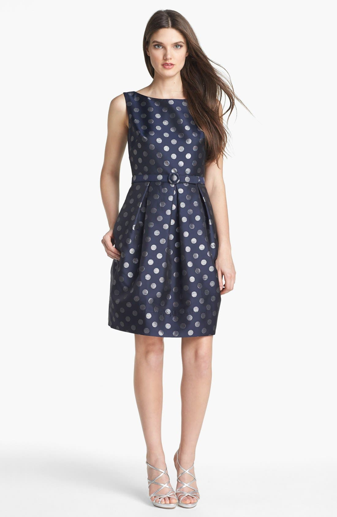 Main Image - Eliza J Metallic Polka Dot Fit & Flare Dress
