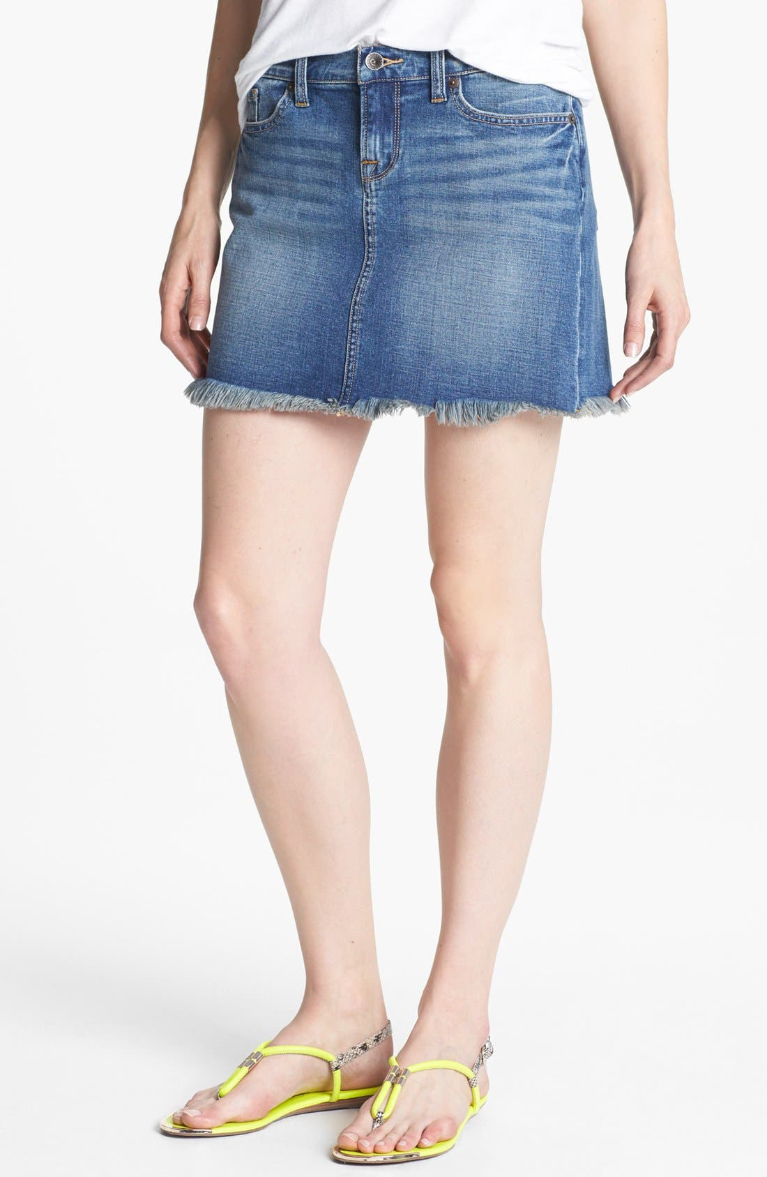 Main Image - Lucky Brand 'Blossom' Denim Cutoff Skirt (Online Only)