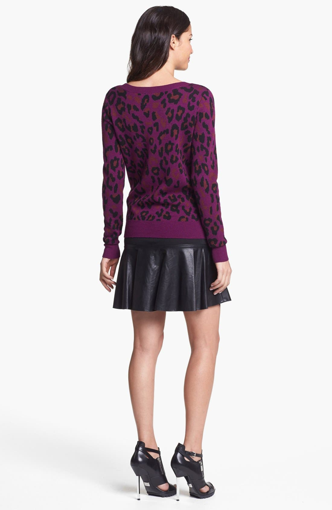Alternate Image 4  - Halogen® Faux Leather & Ponte Flared Skirt