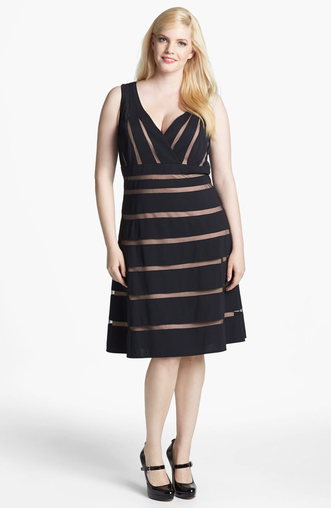 Alternate Image 1 Selected - Xscape Mesh Stripe Fit & Flare Dress (Plus Size)