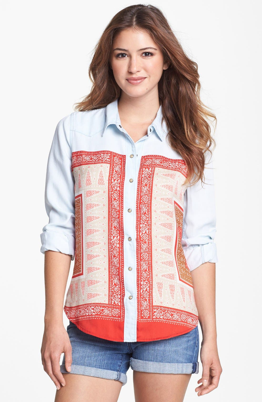 Main Image - Lucky Brand 'Dixie' Scarf Chambray Shirt