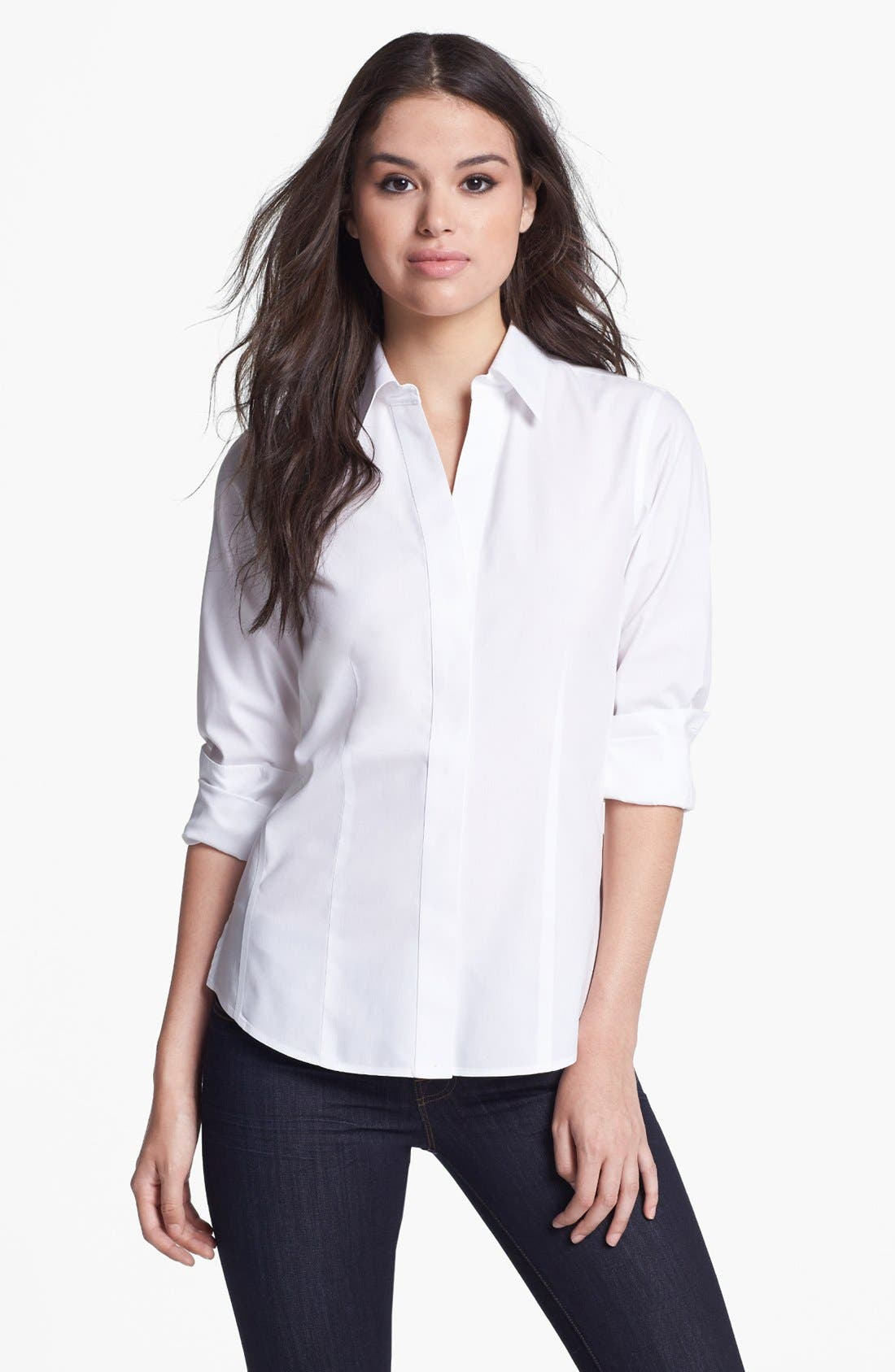 Main Image - Foxcroft Long Sleeve Shirt (Petite)