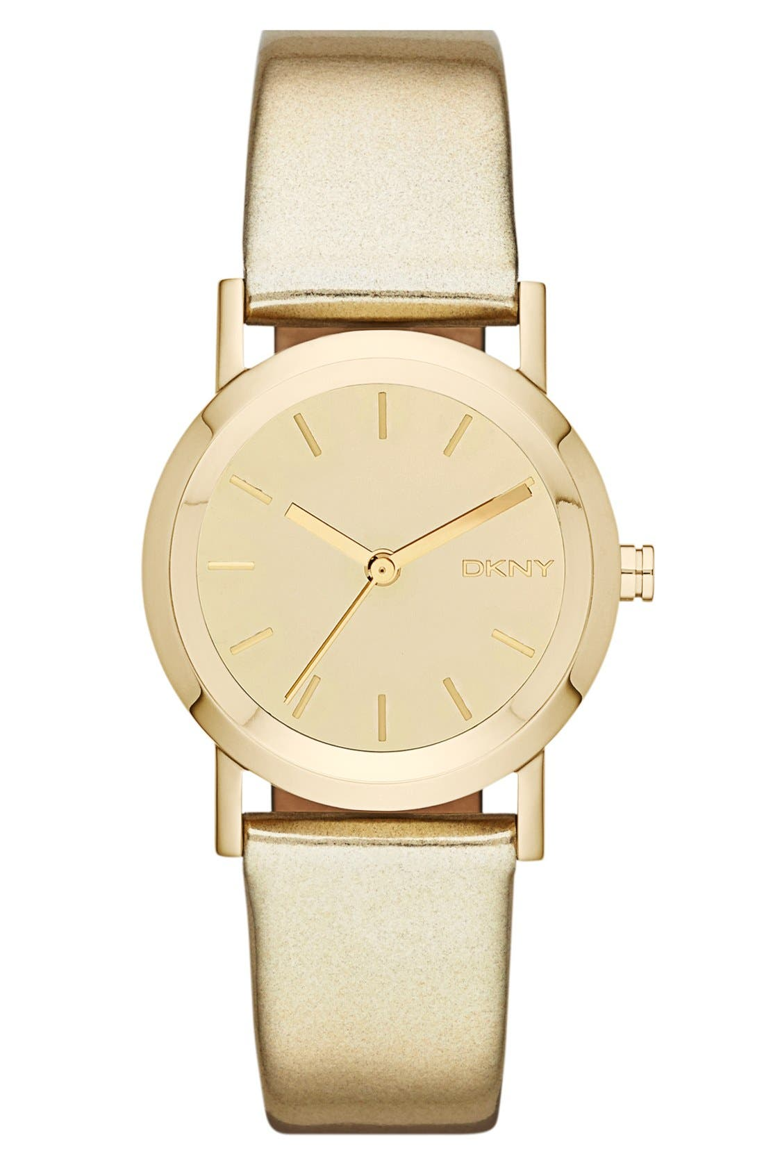 Main Image - DKNY Mirror Dial Metallic Leather Strap Watch, 28mm