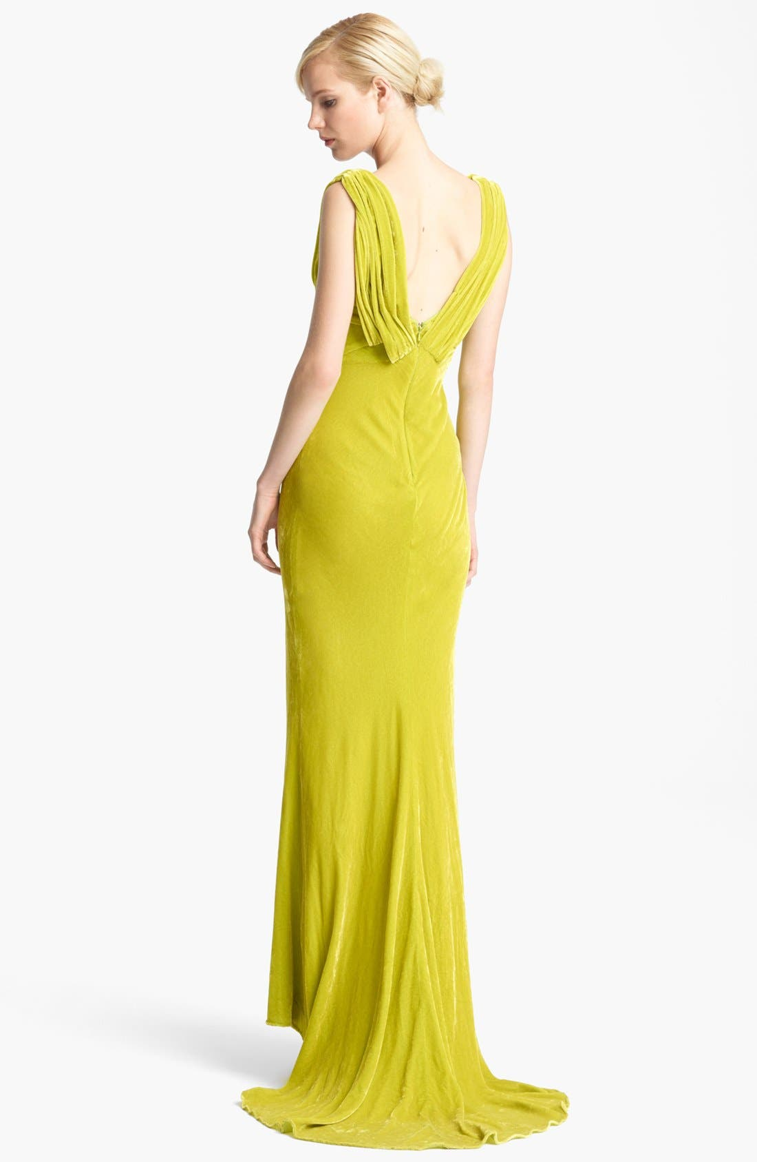 Alternate Image 2  - Oscar de la Renta Draped Velvet Gown