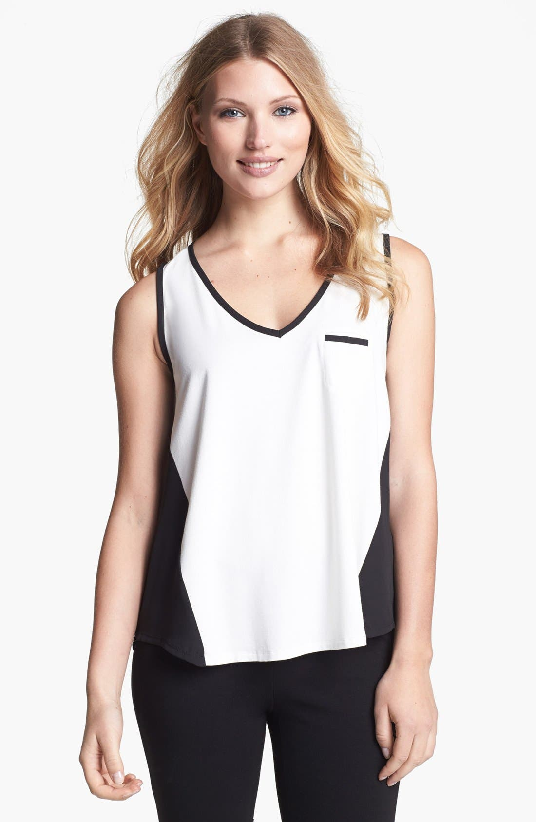 Alternate Image 1 Selected - Chaus Colorblock V-Neck Top