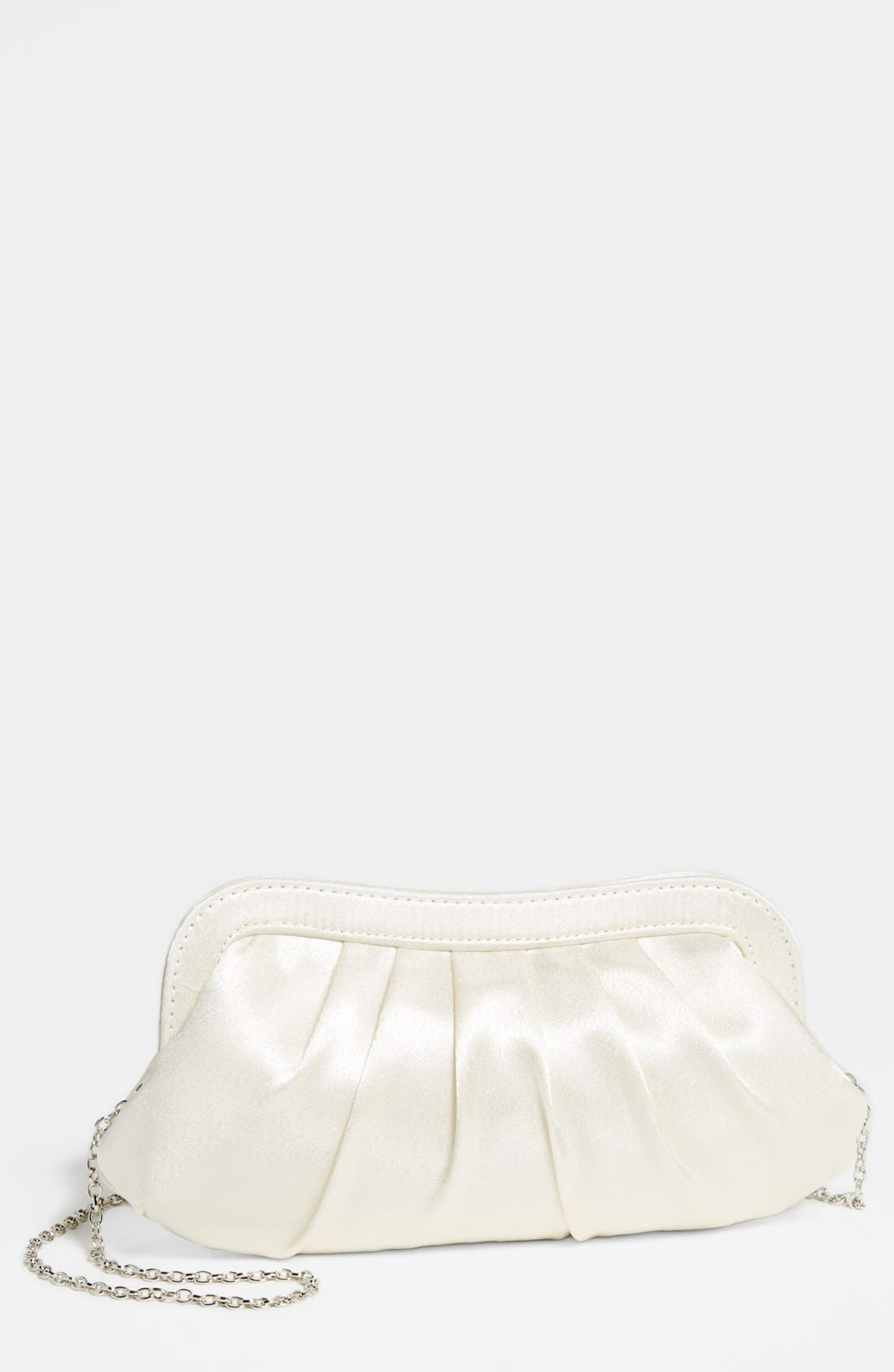 Satin Frame Clutch,                             Main thumbnail 1, color,                             Ivory